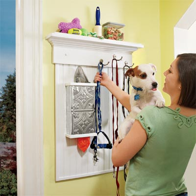 a wall-mounted pet organizer you can build as a pet-friendly project