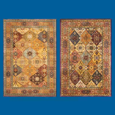 2 types of oriental rugs, both Persian designed, one handmade and one factory made