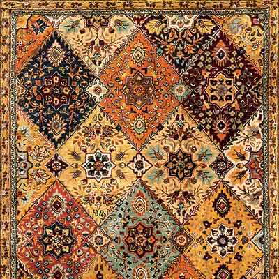 detail of Indian made, Persian designed oriental rug from Safavieh Home Furnishings