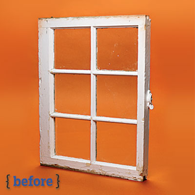 window panes before a spray paint makeover