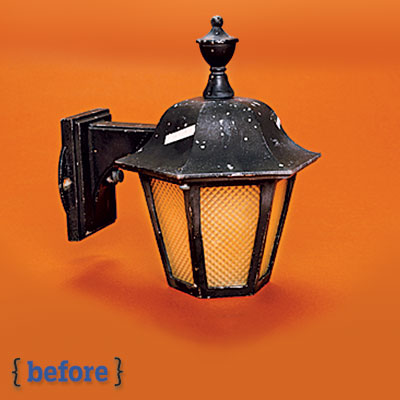 exterior sconce before a spray paint makeover