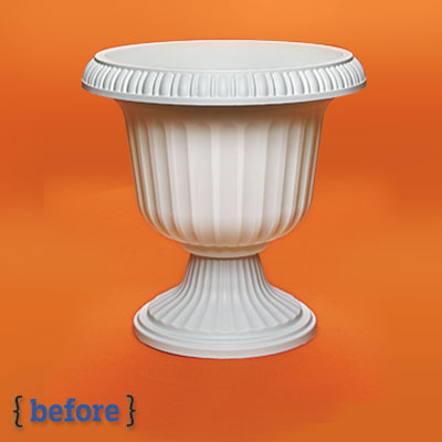 plastic urn before a spray paint makeover