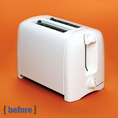 white plastic toaster before a spray paint makeover