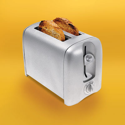 white plastic toaster after a spray paint makeover