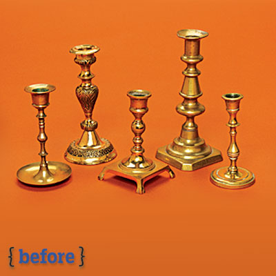 different types of brass candlesticks before a spray paint makeover