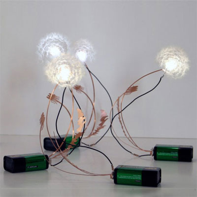 battery powered LED bulb dandelion seed lights as one of the wackiest yard and garden products