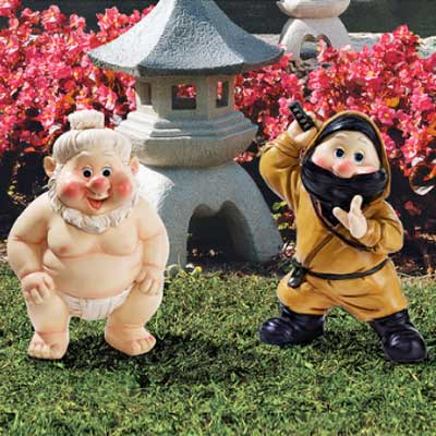 sumo wrestler and ninja garden gnomes as one of the wackiest yard and garden products