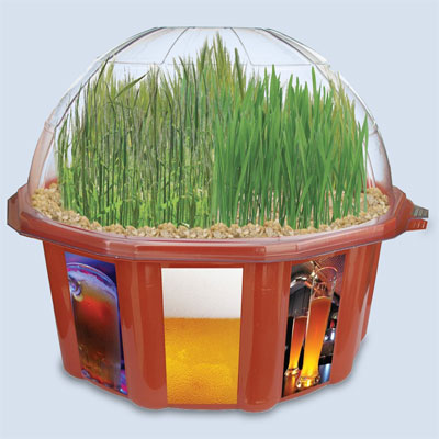mini terrarium that grows wheat hops and barley seeds for home-brewing as one of the wackiest yard and garden products