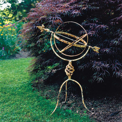 A garden ornament in a yard