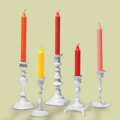 mismatched candlesticks painted white