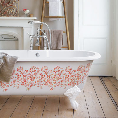 Stenciled claw-foot bathtub