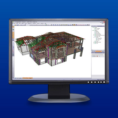 a computer screen displays structural design software