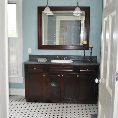 reader remodel bathroom with wood vanity
