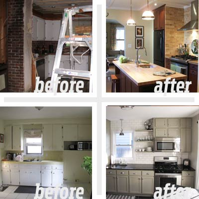 Before and after old farmhouse exterior makeovers joy for Old home kitchen remodel