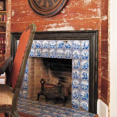 Dining room fireplace of this Orlando colonial home
