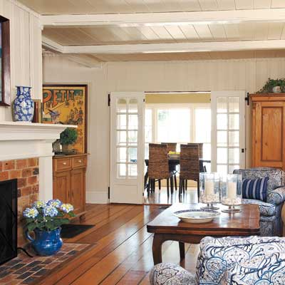 Living room and mantel of this Orlando colonial home