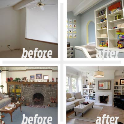 2 reader remodels of family spaces before and afters