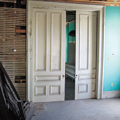 Original pocket doors in this Wheeling, West Virginia brick federal