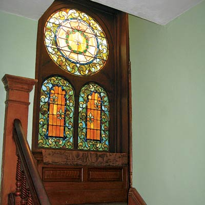 stained glass windows in the 1st floor staircase landing