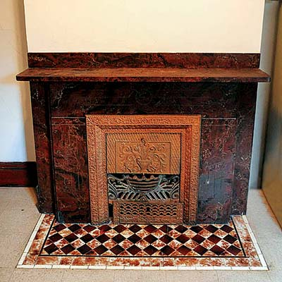 a marble fireplace
