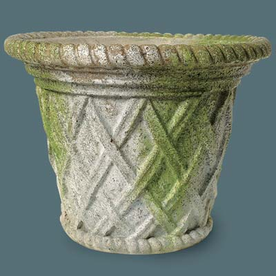 faux stone urn with a lattice weave design