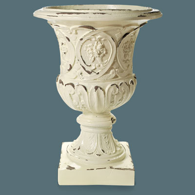 faux stone urn with a distressed finish