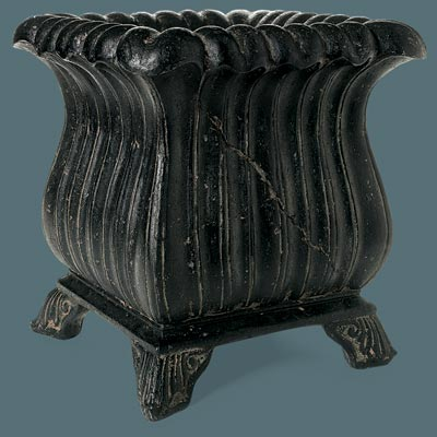 faux stone urn with fluted design and feet