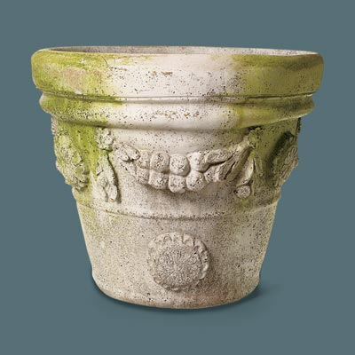 faux stone urn with garland designs