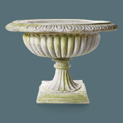shallow faux stone urn with a classical design