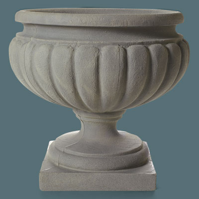 shallow faux stone urn with a goblet look