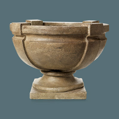 shallow faux stone urn with a strapped design