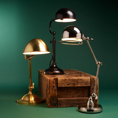 three pharmacy lamps