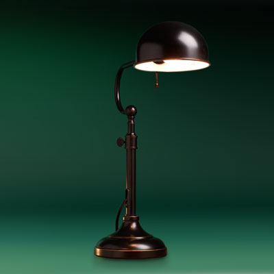 dark steel desk pharmacy lamp