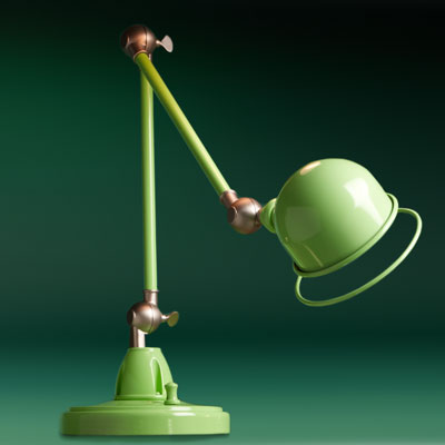 a green enameled iron desk pharmacy lamp
