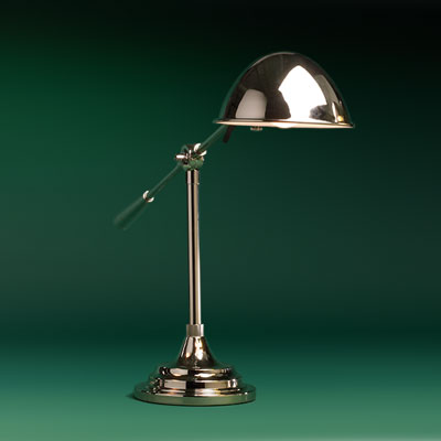 a nickel finished tilting pharmacy lamp