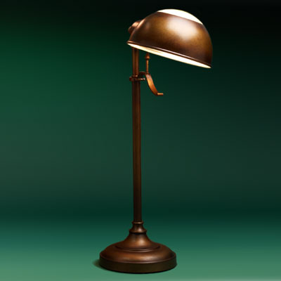 a steel, antiqued-bronze finish study pharmacy lamp