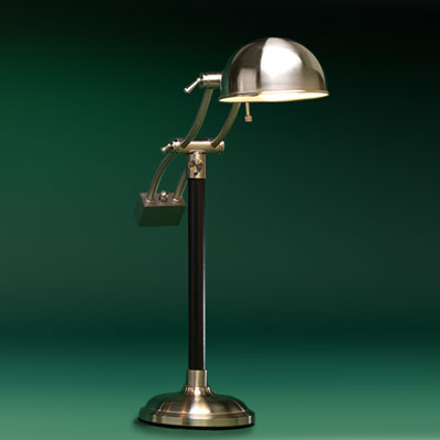 a steel, antiqued-brass finish pharmacy lamp with cantilevered arm