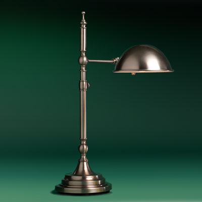 a brass, antiqued-nickel finish pharmacy lamp with double-jointed arm