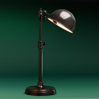 an iron with oil-rubbed finish pharmacy lamp with swivel arm