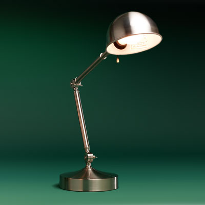 a steel with brushed-nickel finish pharmacy lamp