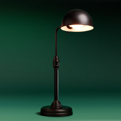 a steel with antiqued-bronze finish entry table pharmacy lamp