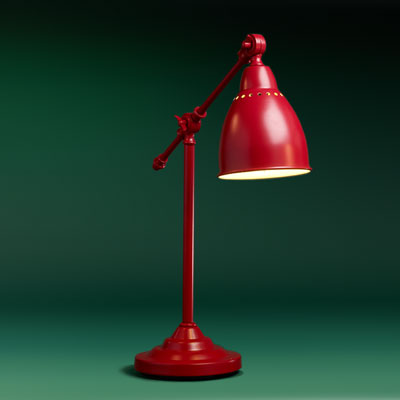 a red steel nursery table pharmacy lamp