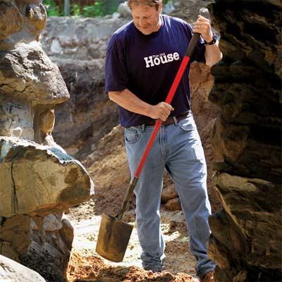 Roger Cook with a spade-head shovel