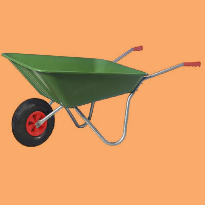 a plastic wheelbarrow