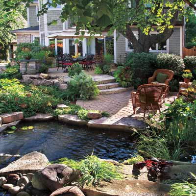 outdoor space with pond and multiple gardens