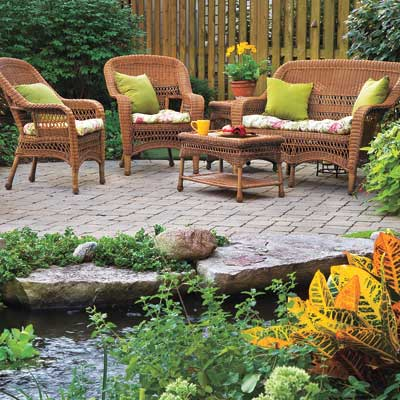 outdoor garden with patio furniture set
