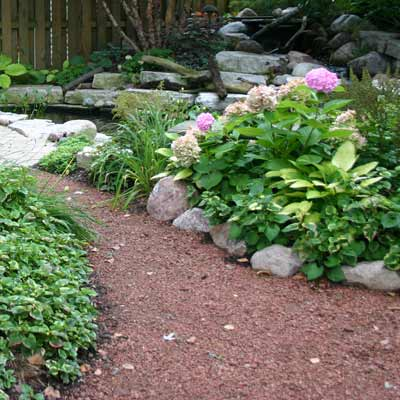 outdoor garden with gravel path