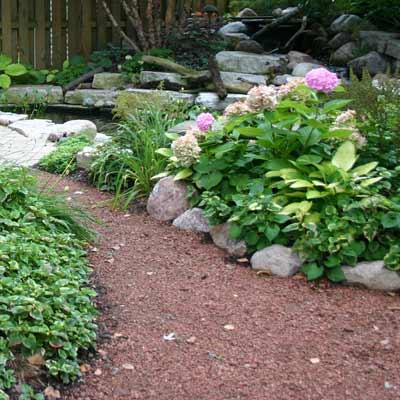 outdoor garden with gravel path