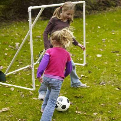 soccer goal built for game in backyard