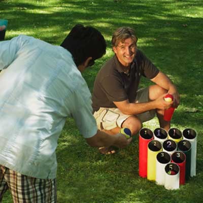 pipe ball lawn game built for game in backyard
